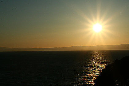 江の島頂上からの夕日
